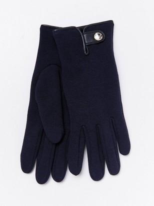 Fôrede jersey-hansker med knapp Blå