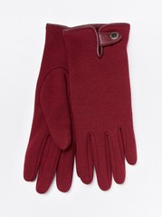 Fôrede jersey-hansker med knapp Rød