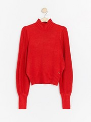 Knitted jumper with wide sleeves  Red