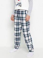 Rutete pyjamasbukse i flanell Hvit