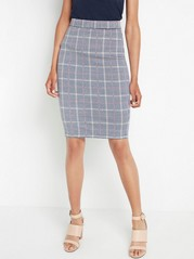 Checkered pencil skirt  Beige