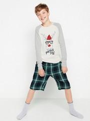Pyjamas med reinsdyrtrykk og flanellshorts Grå