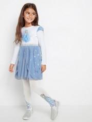 Frost Trikåklänning med ljusblå tyllkjol Vit