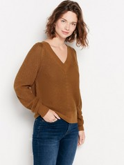 Knitted v-neck jumper  Brown