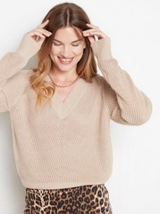 Knitted v-neck jumper  Beige