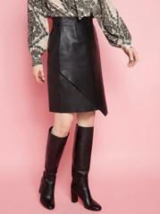 Černá kožená sukně Černá