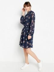 Patterned long sleeve dress  Blue