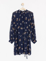Patterned long sleeve dress  Blue
