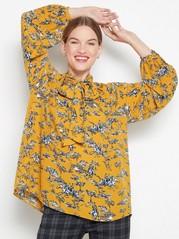 Kuvioitu pusero, jossa kietaisusolmu Keltainen