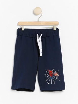 Sweatshirt shorts with Spider-Man print Blue
