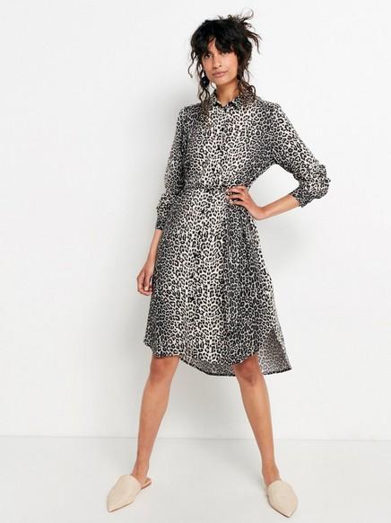Leopardikuvioitu paitamekko, jossa on solmittava nauha Musta