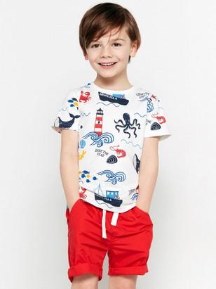 T-shirt med havsdjur och båtar Vit