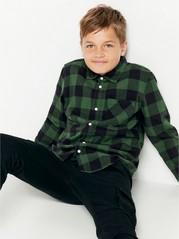 Kostkovaná flanelová košile Zelená