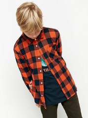 Kostkovaná flanelová košile Oranžová