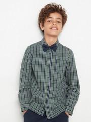 Rutete skjorte med tversoversløyfe Grønn