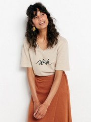 V-neck top with print  Beige