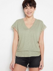 Linen blend top with lace details  Green