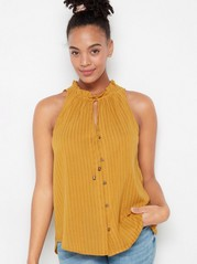 Sleeveless blouse with tie band  Yellow