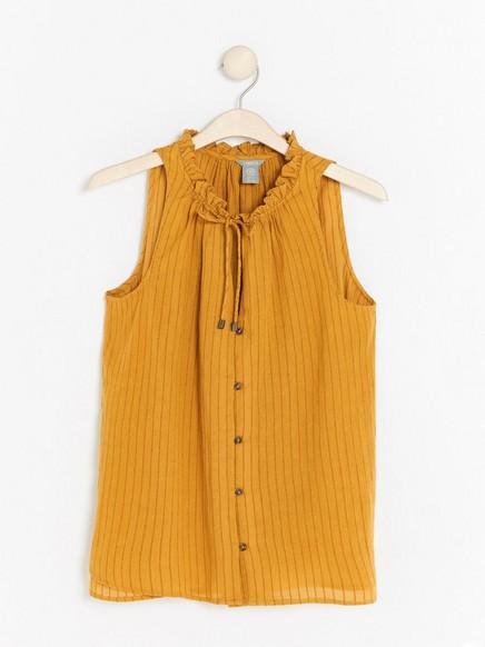 Mønstret bluse med knytebånd Gul