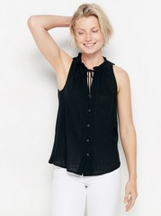 Sleeveless blouse with tie band  Black