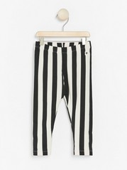 Striped leggings with brushed inside Black