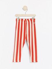 Stripet leggings med børstet innside Rød