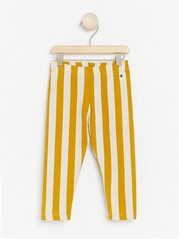 Raidalliset leggingsit, joissa harjattu sisäpuoli Keltainen