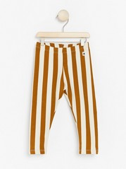 Striped leggings with brushed inside Brown