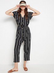 Striped jumpsuit with cropped legs  Black
