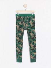 Vzorované podvlékací kalhoty Zelená