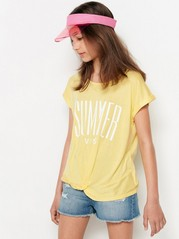 Viscose top with print and twisted front Yellow