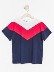 Kortärmad t-shirt med färgblock Blå