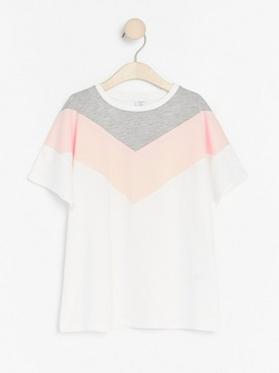 Short sleeve t-shirt with colour blocks White