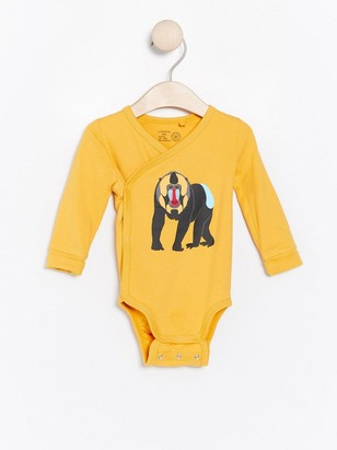 Yellow wrap bodysuit with monkey print Yellow