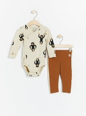 Set with wrap bodysuit with monkey print and brown leggings Beige