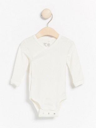 Long sleeve wrap bodysuit White