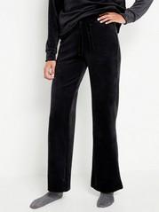 Široké velurové kalhoty Černá