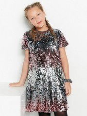 Short sleeve sequin dress Black
