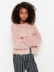 Fluffy rosa jakke Rosa