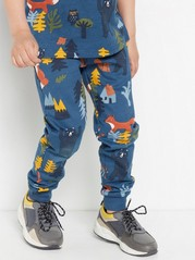 Blue sweatpants with forest animal print Blue