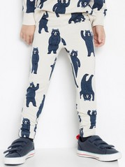 Leggings with bears and brushed inside Beige