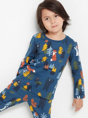 Blue top with forest animal print Blue