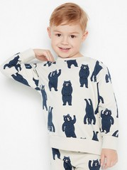 Oversized sweatshirt with blue bears Beige