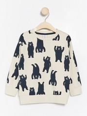 Oversize sweatshirt med blå björnar Beige