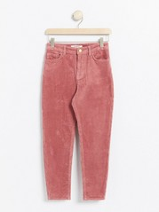 Pink narrow fit corduroy trousers with high waist Pink