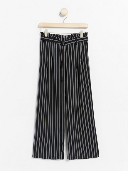 Wide striped trousers with paper bag waist Black