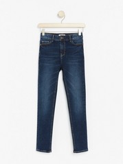 Dark blue slim fit high waist jeans with super stretch Blue