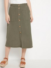 Skirt in lyocell with buttons  Khaki