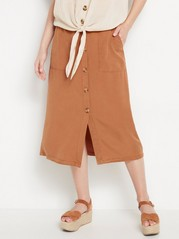 Skirt in lyocell with buttons  Brown