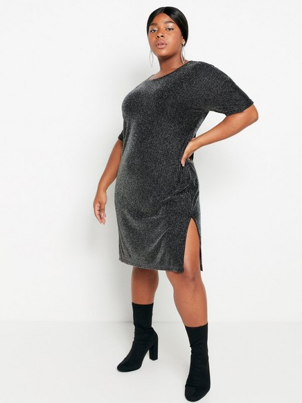 Svart kortärmad klänning med lurex Metallic
